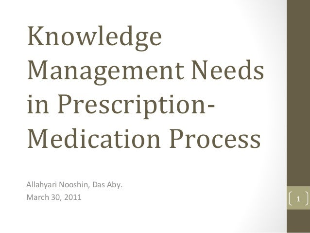 Knowledge Management Needs in Prescription- Medication Process Allahyari Nooshin, Das Aby. March 30, 2011 1
