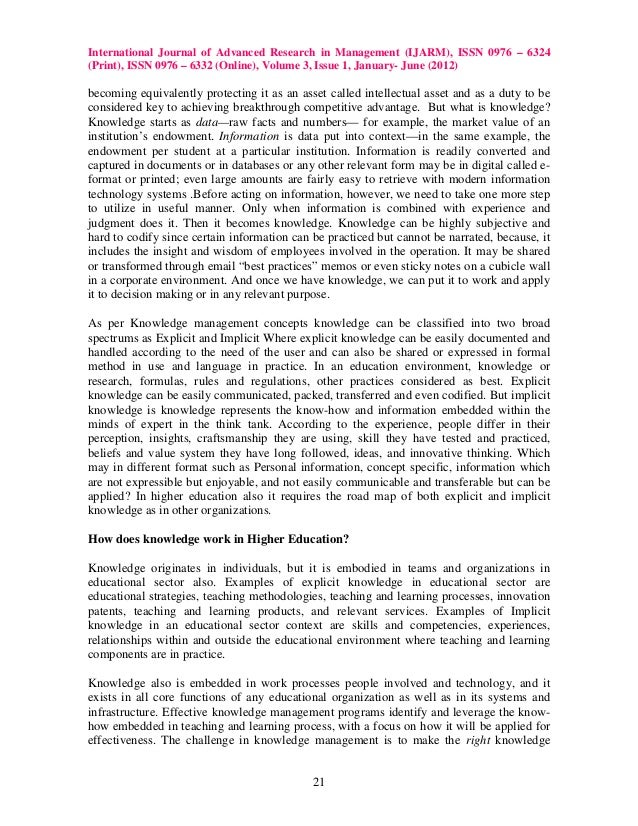 knowledge management in higher institution Abstract the purpose of the present study was to provide a structural model of  knowledge management in universities based on managers' entrepreneurship.