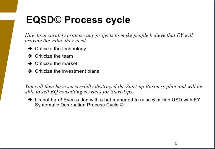 EQSD ©  Process cycle <ul><li>How to accurately criticize any projects to make people believe that EY will provide the val...