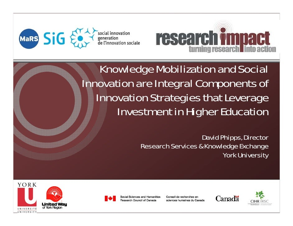 Knowledge Mobilization and SocialInnovation are Integral Components of   Innovation Strategies that Leverage       Investm...