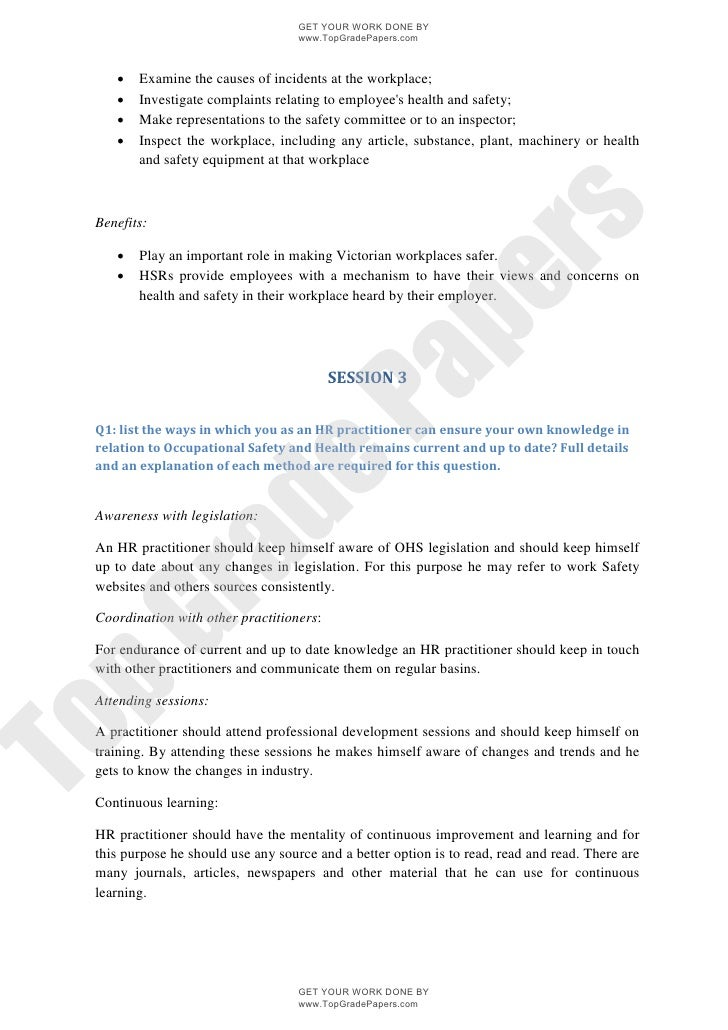 Occupational safety and health Essay
