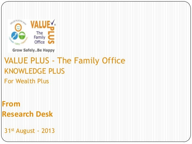 From Research Desk VALUE PLUS - The Family Office KNOWLEDGE PLUS For Wealth Plus 31st August - 2013