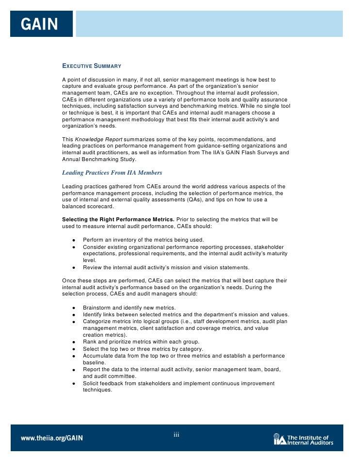 MEASURING INTERNAL AUDIT PERFORMANCE – Audit Summary Template