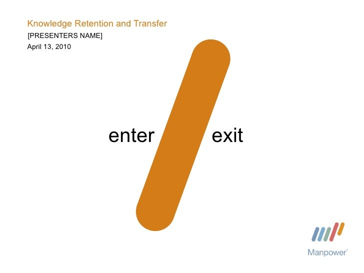 Knowledge Retention and Transfer April 13, 2010 enter exit [PRESENTERS NAME]