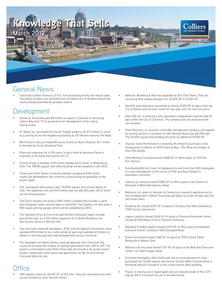 Knowledge That SellsMarch 2012General News•   Cincinnati's Dalton Avenue U.S.P.S. mail processing facility will remain op...