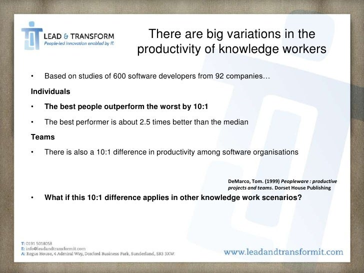 knowledge work productivity essay The productivity of knowledge work the most important contribution of management in the 21st century will be to increase knowledge worker productivity—hopefully.