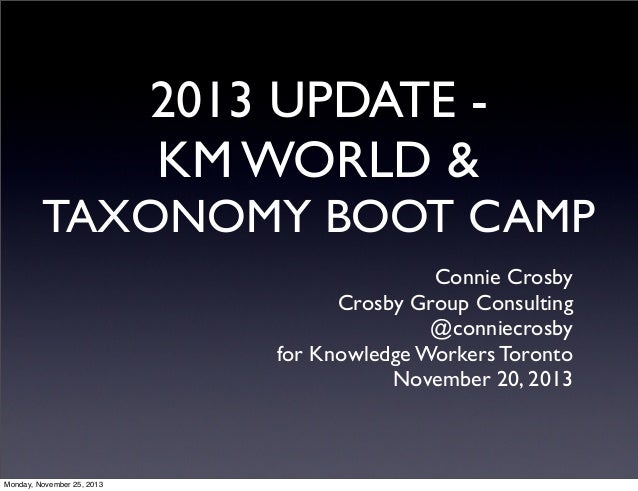 2013 UPDATE KM WORLD &  TAXONOMY BOOT CAMP Connie Crosby Crosby Group Consulting @conniecrosby for Knowledge Workers Toron...