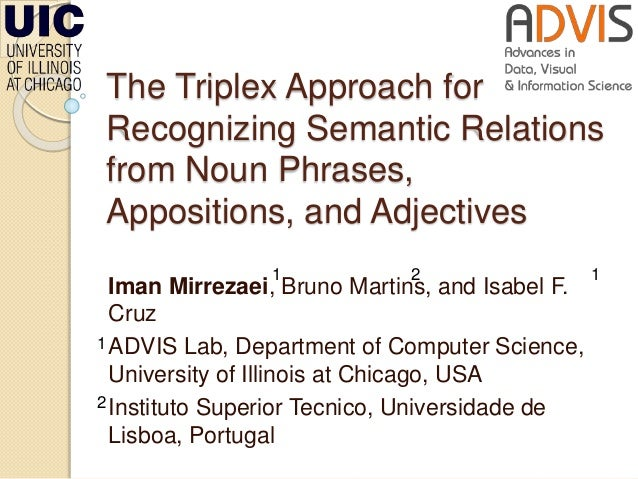 The Triplex Approach for Recognizing Semantic Relations from Noun Phrases, Appositions, and Adjectives Iman Mirrezaei, Bru...