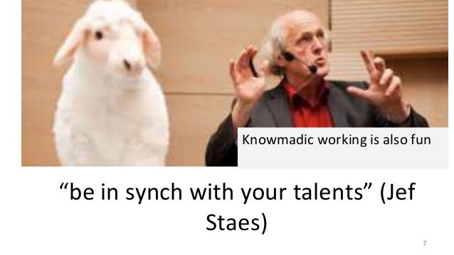 """Robots """"be in synch with your talents"""" (Jef Staes) Knowmadic working is also fun 7"""