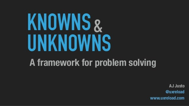 KNOWNS UNKNOWNS & A framework for problem solving AJ Justo @uxreload www.uxreload.com