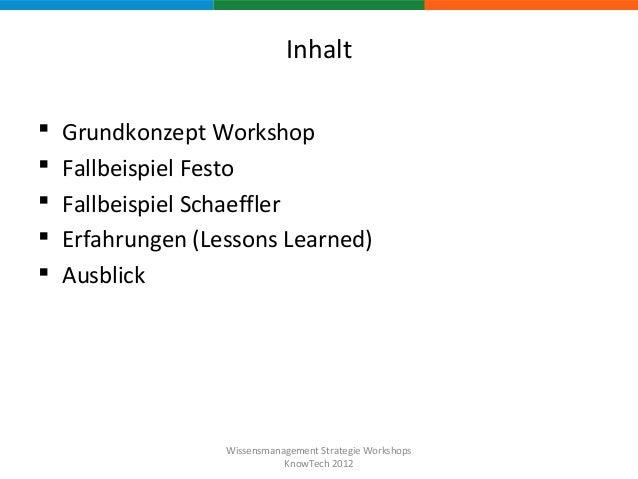 Wissensmanagement Strategie Workshops (KnowTech 2012) Slide 2
