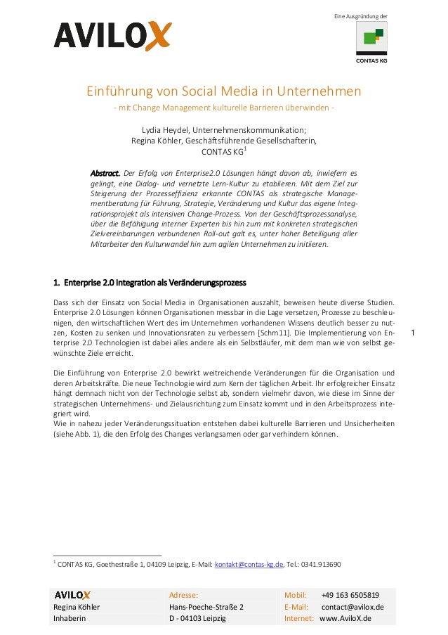 Eine Ausgründung der  Einführung von Social Media in Unternehmen - mit Change Management kulturelle Barrieren überwinden L...