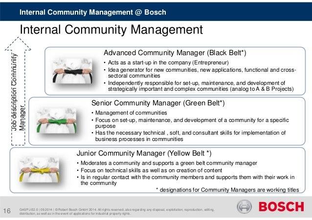 Internal Community Management @ Bosch  Internal Community Management  Advanced Community Manager (Black Belt*)  • Acts as ...