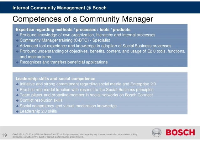 Internal Community Management @ Bosch  Competences of a Community Manager  Expertise regarding methods / processes / tools...