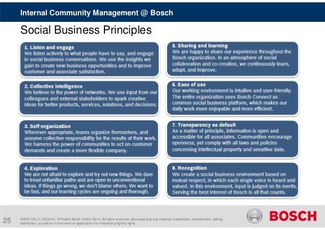 Internal Community Management @ Bosch  Social Business Principles  G40/PJ-E2.0 | 09.2014 | © Robert Bosch GmbH 2014. All r...