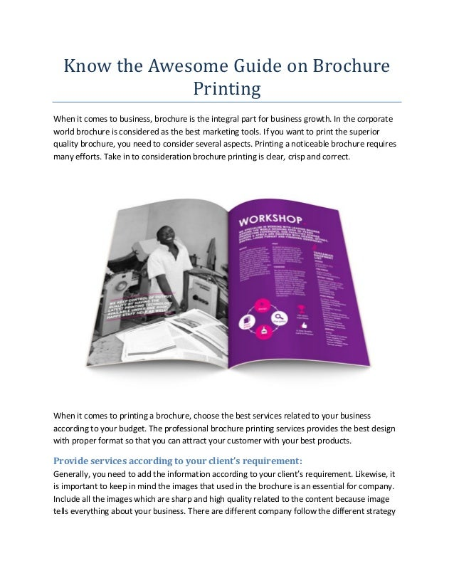 know the awesome guide on brochure printing when it comes to business brochure is the