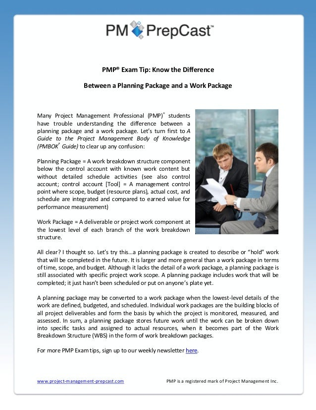 PMP® Exam Tip: Know the Difference Between a Planning Package and a Work Package  Many Project Management Professional (PM...