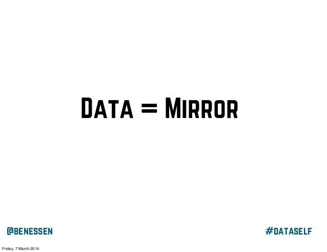 "Data = Mirror ""I think that self-awareness is about mirroring yourself, seeing yourself, in whatever it is that you do. I'..."
