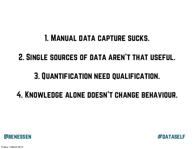 1. Manual data capture sucks. 2. Single sources of data aren't that useful. 3. Quantification need qualification. 4. Knowl...