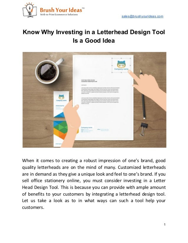 Know why investing in a letterhead design tool is a good idea