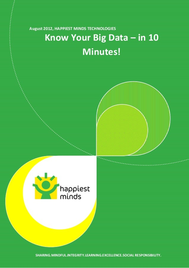 August 2012, HAPPIEST MINDS TECHNOLOGIES Know Your Big Data – in 10 Minutes! SHARING.MINDFUL.INTEGRITY.LEARNING.EXCELLENCE...