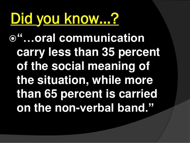 """Did you know…? """"…oral communication carry less than 35 percent of the social meaning of the situation, while more than 65..."""