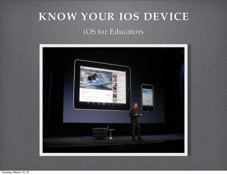 KNOW YOUR IOS DEVICE                             iOS for EducatorsTuesday, March 13, 12