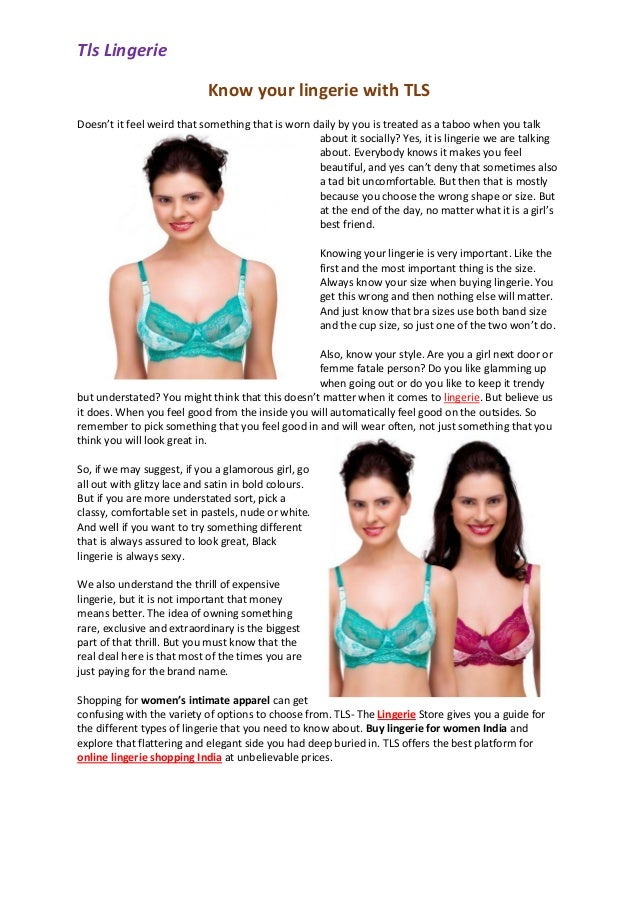 Tls Lingerie Know your lingerie with TLS Doesn't it feel weird that  something that ...