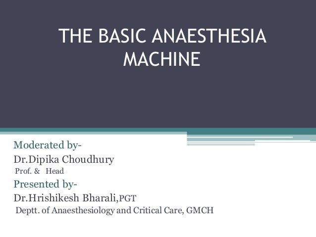 THE BASIC ANAESTHESIA MACHINE Moderated by- Dr.Dipika Choudhury Prof. & Head Presented by- Dr.Hrishikesh Bharali,PGT Deptt...