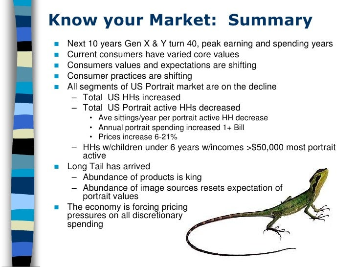 Know your Market: Summary    Next 10 years Gen X & Y turn 40, peak earning and spending years    Current consumers have ...