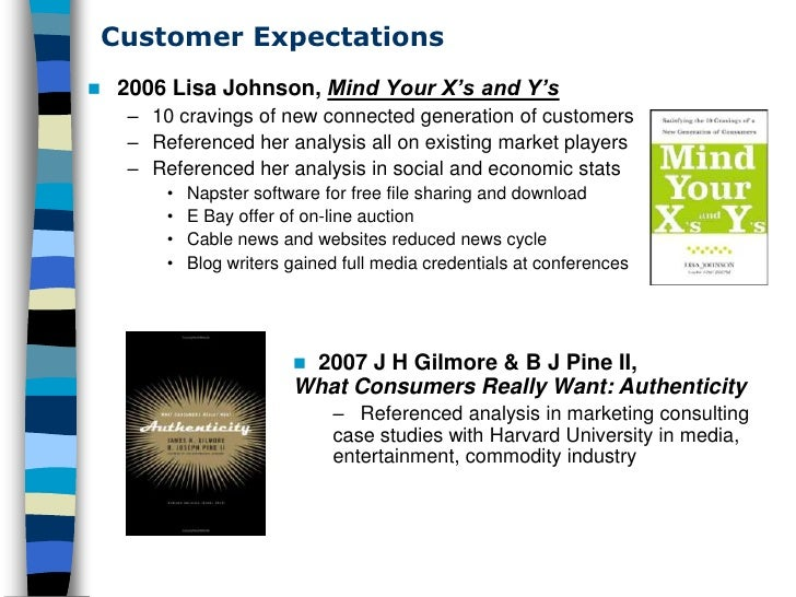 Customer Expectations      2006 Lisa Johnson, Mind Your X's and Y's       – 10 cravings of new connected generation of cu...