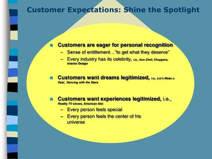 Customer Expectations: Shine the Spotlight            Customers are eager for personal recognition           – Sense of e...