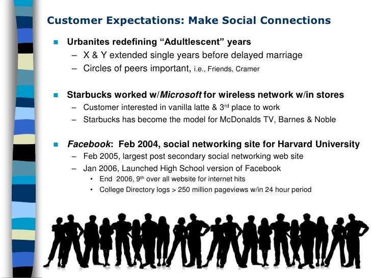 """Customer Expectations: Make Social Connections       Urbanites redefining """"Adultlescent"""" years         – X & Y extended s..."""