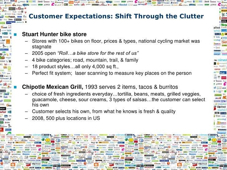 Customer Expectations: Shift Through the Clutter     Stuart Hunter bike store      – Stores with 100+ bikes on floor, pri...