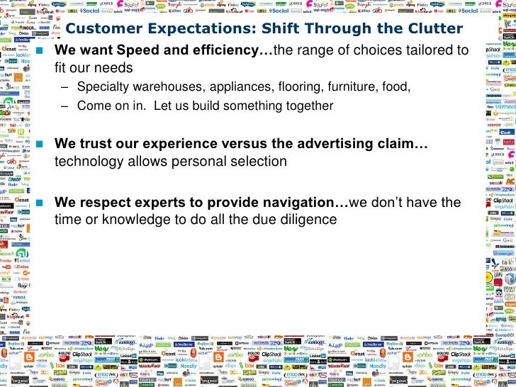 Customer Expectations: Shift Through the Clutter     We want Speed and efficiency…the range of choices tailored to      f...