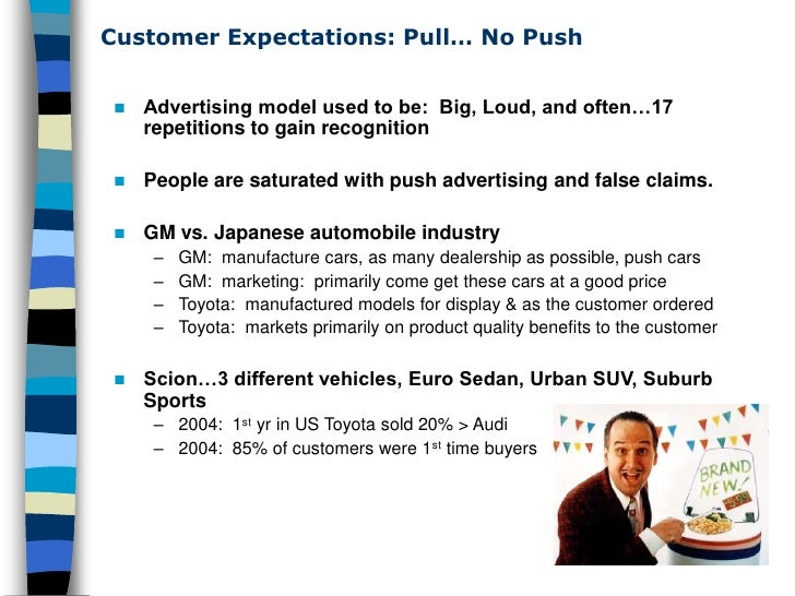 Customer Expectations: Pull… No Push       Advertising model used to be: Big, Loud, and often…17      repetitions to gain...