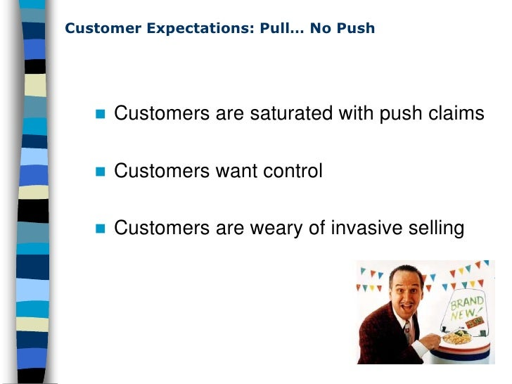 Customer Expectations: Pull… No Push           Customers are saturated with push claims        Customers want control   ...