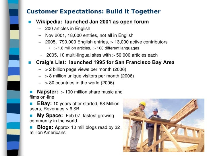 Customer Expectations: Build it Together    Wikipedia: launched Jan 2001 as open forum      – 200 articles in English    ...
