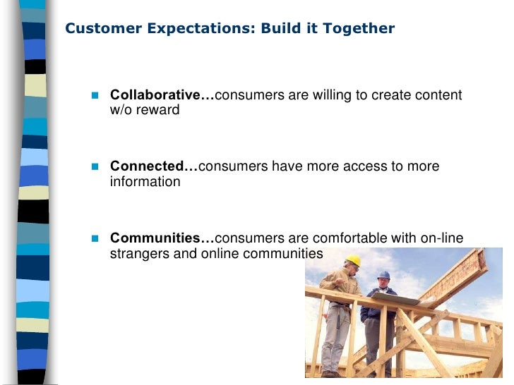 Customer Expectations: Build it Together           Collaborative…consumers are willing to create content            w/o r...