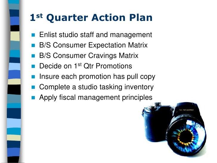 1st Quarter Action Plan  Enlist studio staff and management  B/S Consumer Expectation Matrix  B/S Consumer Cravings Mat...