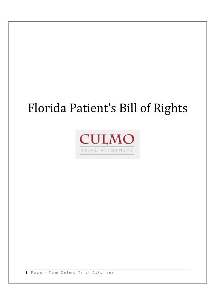 Florida Patient's Bill of Rights1|Page - Tom Culmo Trial Attorney