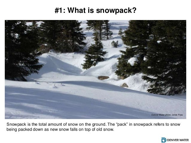 "#1: What is snowpack? Snowpack is the total amount of snow on the ground. The ""pack"" in snowpack refers to snow being pack..."