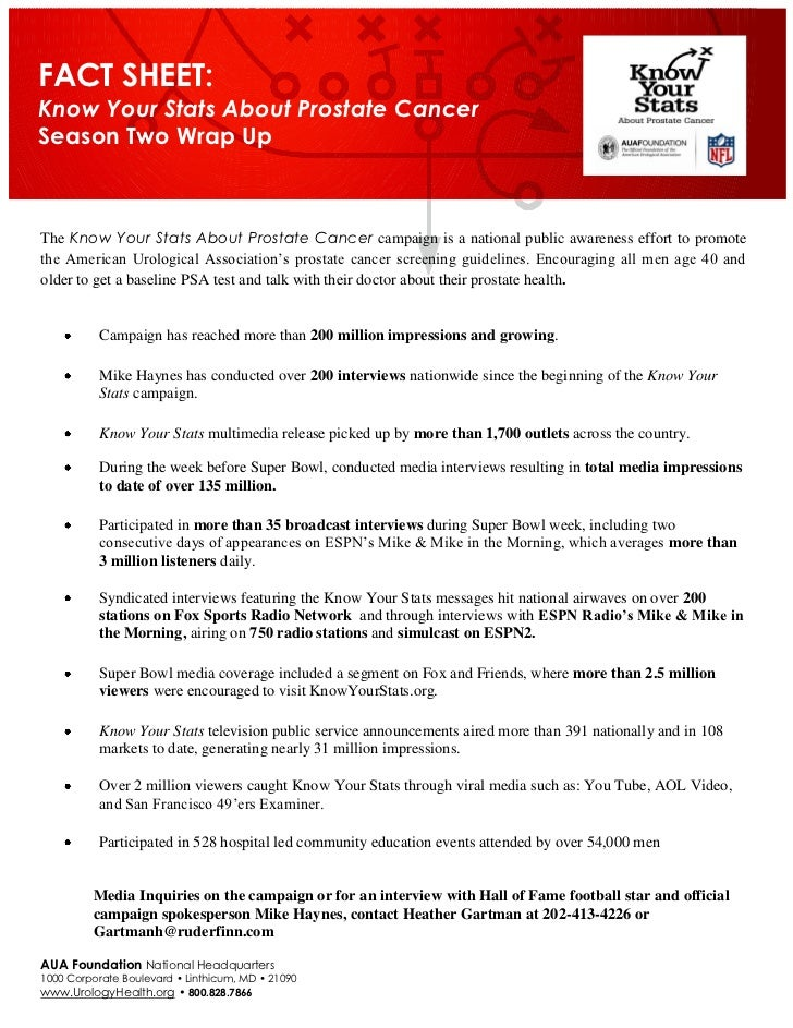 FACT SHEET:Know Your Stats About Prostate CancerSeason Two Wrap UpThe Know Your Stats About Prostate Cancer campaign is a ...