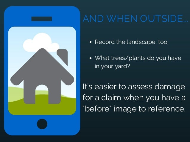 AND WHEN OUTSIDE... Record the landscape, too. What trees/plants do you have in your yard? It's easier to assess damage fo...