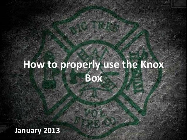 How to properly use the Knox             BoxJanuary 2013