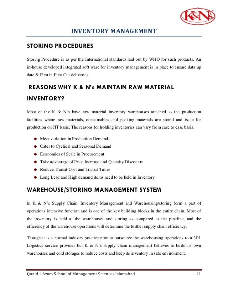 Project on K & N 's Supply Chain Management