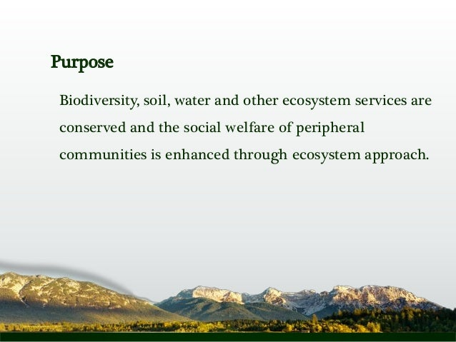 Purpose Biodiversity, soil, water and other ecosystem services are conserved and the social welfare of peripheral communit...
