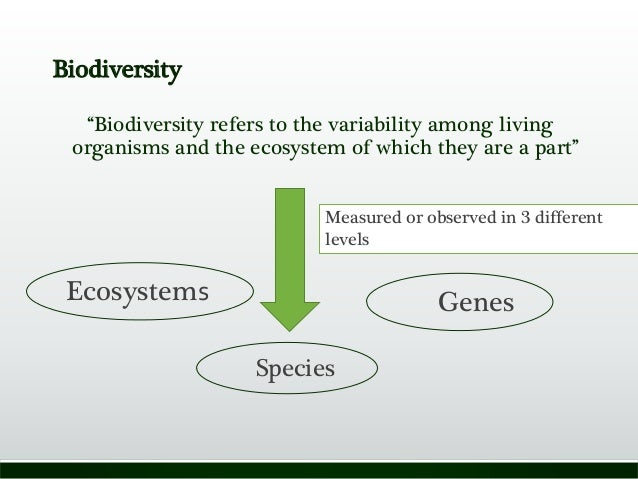 """Biodiversity """"Biodiversity refers to the variability among living organisms and the ecosystem of which they are a part"""" Me..."""