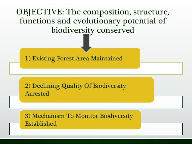 OBJECTIVE: The composition, structure, functions and evolutionary potential of biodiversity conserved 1) Existing Forest A...