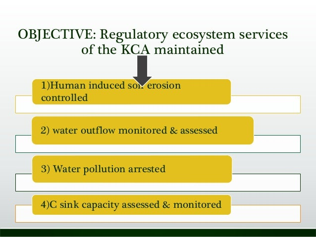 OBJECTIVE: Regulatory ecosystem services of the KCA maintained 1)Human induced soil erosion controlled 2) water outflow mo...